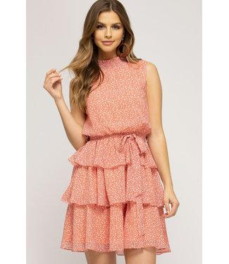 She & Sky Smock Neck Tiered Dress