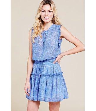 Pinch Sheer Stripe Tiered Mini Dress