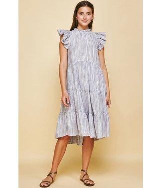 Pinch Ruffle Striped Tiered Midi Dress