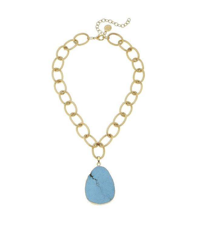 Susan Shaw Turquoise Pendant Necklace