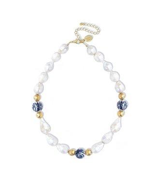 Susan Shaw Baroque Pearl Porcelain Bead Necklace