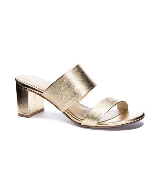 42 Gold Liya Leather Slide Sandal