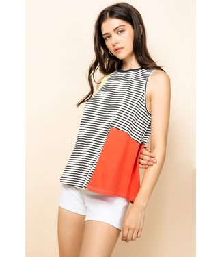 THML THML Striped Colorblock Knit Top