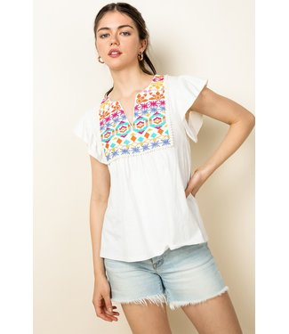 THML THML Flutter Sleeve Embroidered Top