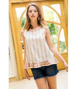THML THML Embroidered Stripe Top