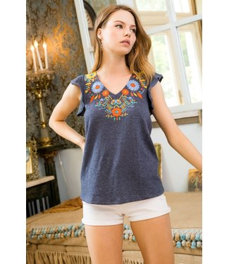 THML THML V-Neck Embroidered Knit Top