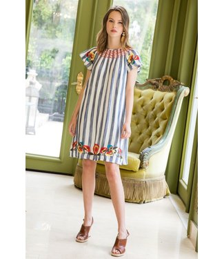 THML THML Striped Embroidered Smocked Dress