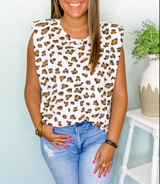 Karlie Leopard Knit  Sleeveless Shoulder Pad Tank