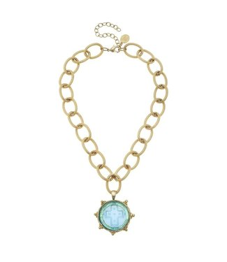 Susan Shaw Venetian Glass Cross Necklace