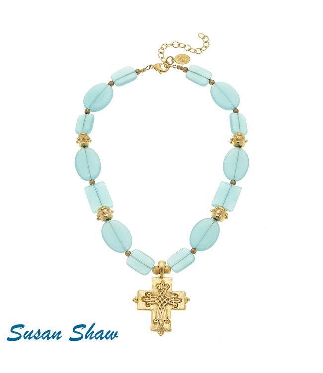 Susan Shaw Scroll Cross Quartz Necklace