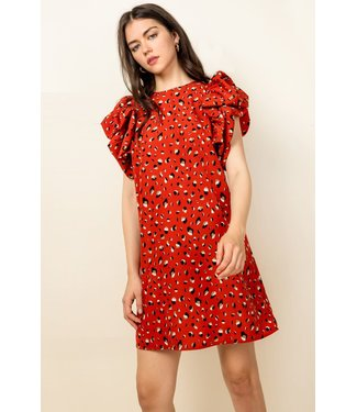 THML Printed Puff Flutter Sleeve Dress