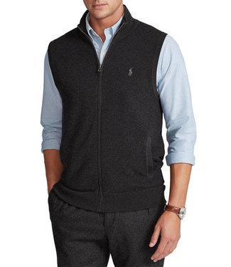 Polo Ralph Lauren Full Zip Birdseye Textured Cotton Sweater Vest