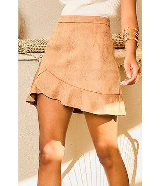 Main Strip Faux Suede Snake Print Ruffle Skirt