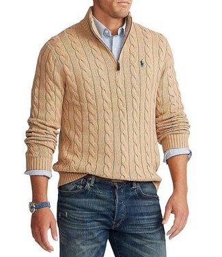 Polo Ralph Lauren Cable-Knit Cotton Quarter-Zip Sweater