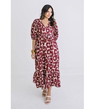 Karlie Karlie Floral Poplin V-Neck Maxi Dress