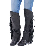Fringed Leather Half Chaps #A199CR