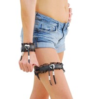 Jamin Leather Leather & Lace Garter w/Heart Concho #A11058GBHK