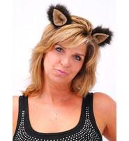 Handmade Dark Brown Fuzzy Clip-On Ears #A1202EARS2