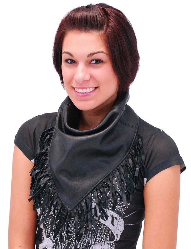 Jamin Leather Leather Scarf with Fringe #A13060FK