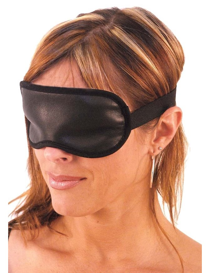 Made in USA Black Leather Blindfold #A604BF