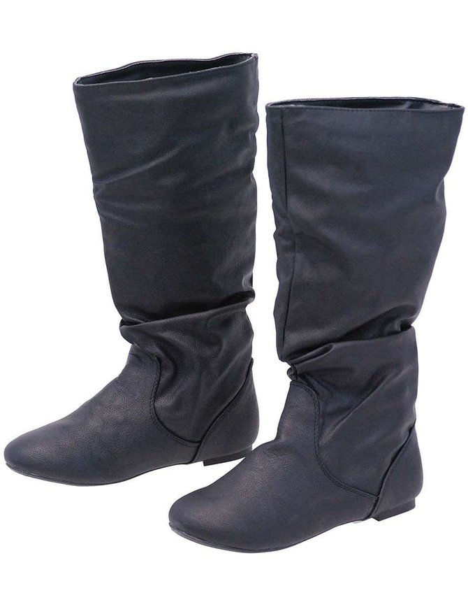 Black Calf High Slouch Boots #BLC0050K