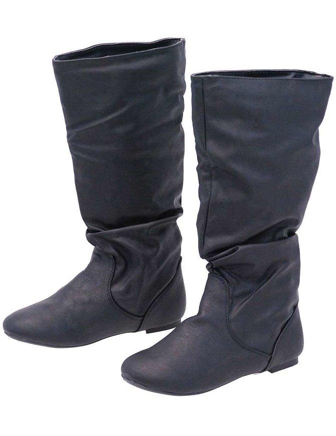 Black Calf High Slouch Boots #BLC0050K