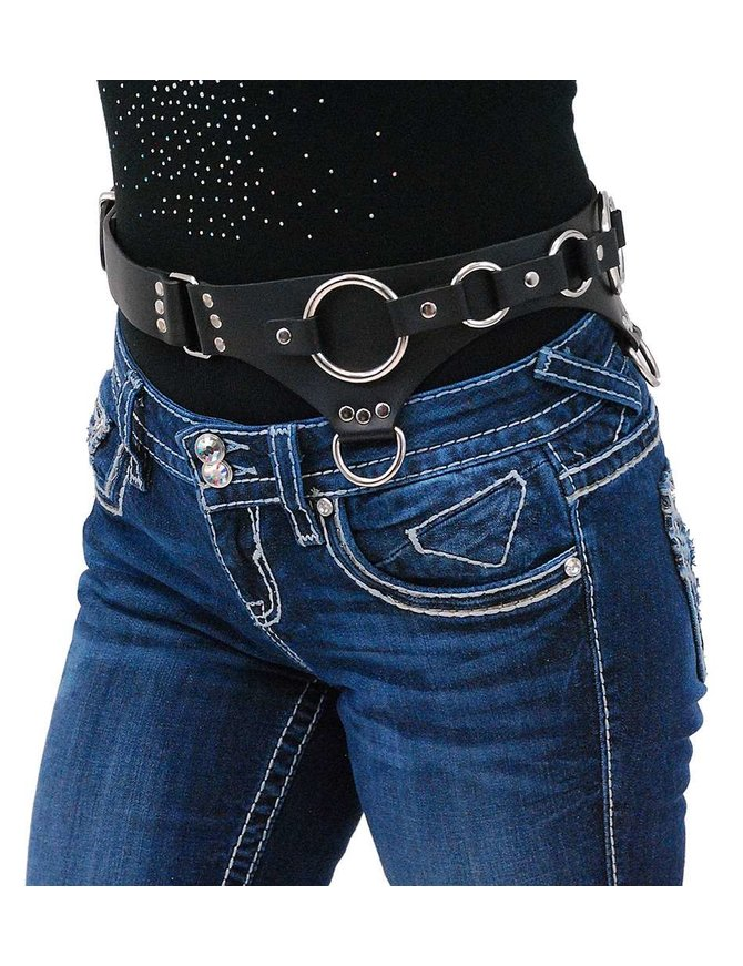 USA Brand Heavy Black Leather Garter Belt w/O-Rings #A807GBRR