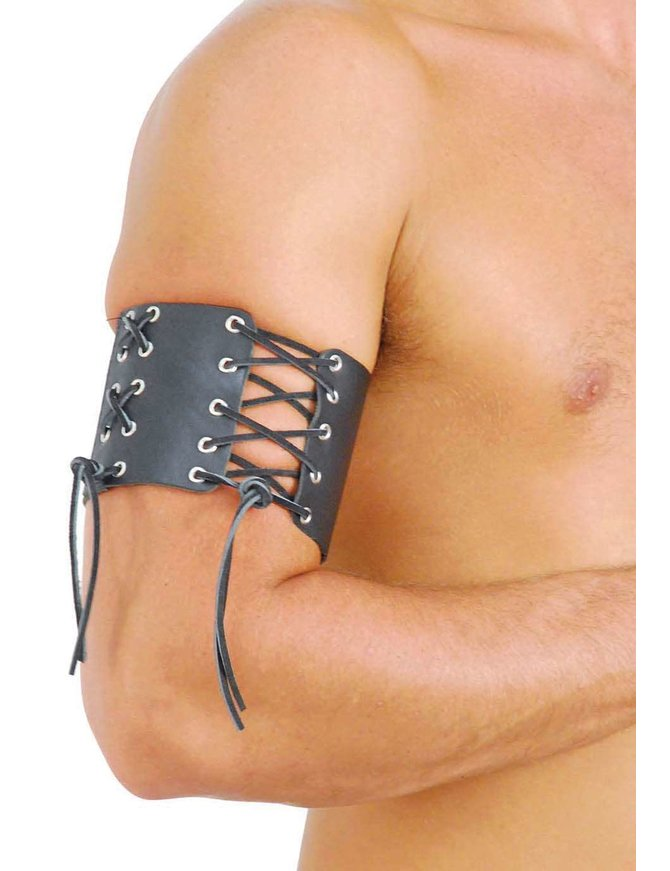 Extra Wide Leather Lace Up Arm Band #AB10080XK