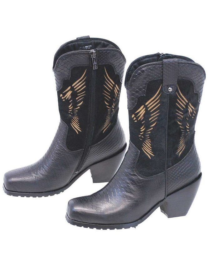 Cow Hair Boots w/Leather Snake Embossed & Wing Design #BL8547WWK
