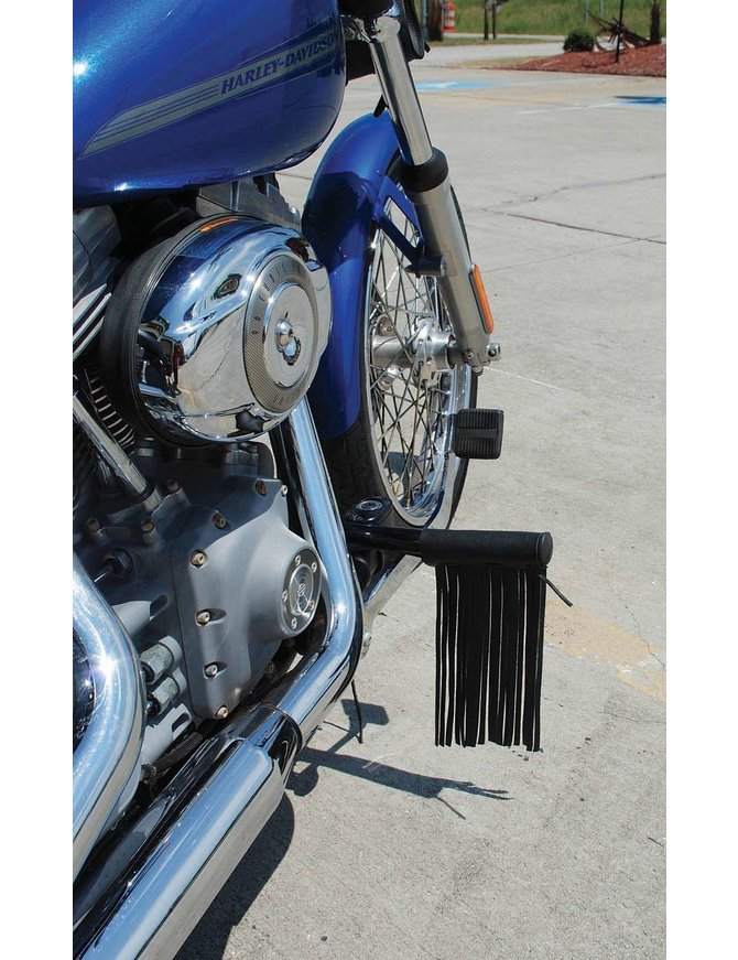 Made in USA Black Leather Fringe Foot Peg Covers #AFP130700FK