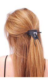 Jamin Leather Black Leather Stick Barrette w/Heart Concho #AH14010K