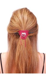 Jamin Leather Red Leather Stick Barrette w/Heart Concho #AH14011R
