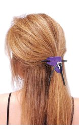 Jamin Leather Purple Leather Stick Barrette w/Heart Concho #AH14012PUR