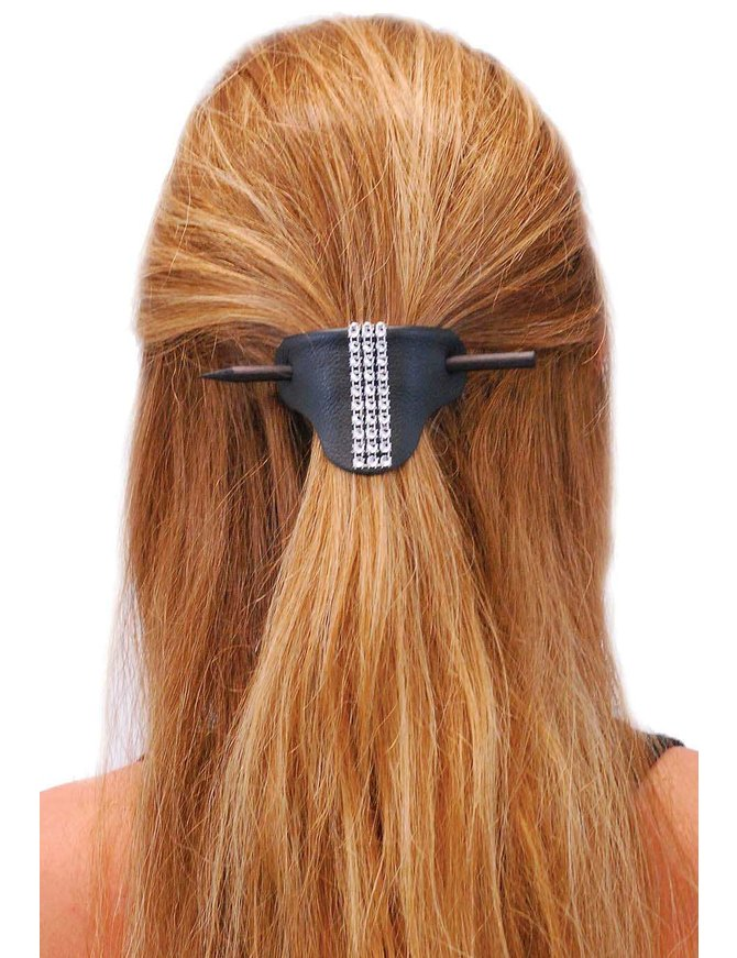 Jamin Leather Black Leather Stick Barrette w/Crystal Stripe #AH14050SIL