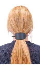 Jamin Leather Oversized Large Black Leather Stick Barrette #AH14090K