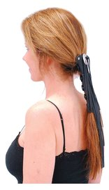 Jamin Leather Long (8 Inch) Fringed Leather Hair Tube #AHW13113FK