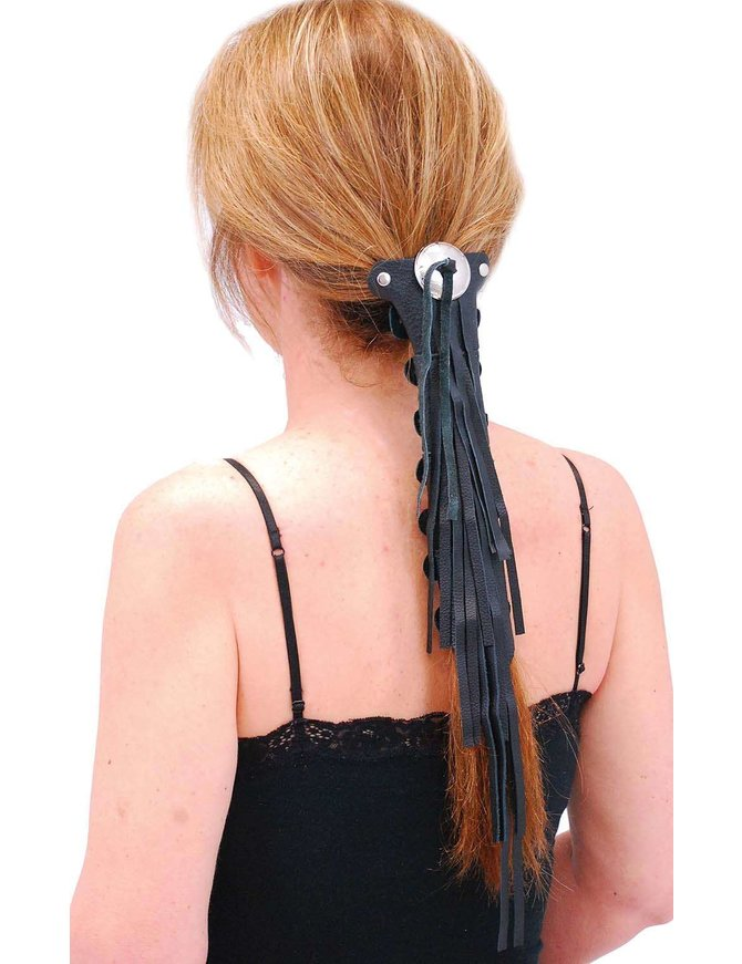 Jamin Leather Extra Long (10.5 Inch) Fringed Leather Hair Tube #AHW13114FK