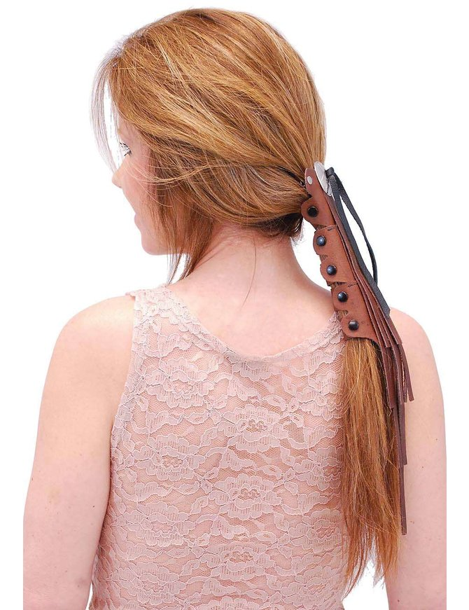 Jamin Leather Short Brown Leather (8 Inch) Fringed Hair Tube #AHW14015FN