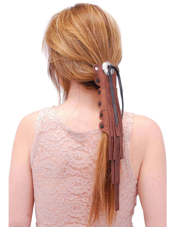 Jamin Leather Extra Long Brown Leather (10.5 Inch) Fringed Hair Tube #AHW14016FN