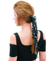 USA Brand Extra Long Silver Beaded Black Leather Hair Tube #AHW6543FBS