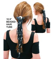 Made in USA Extra Long Silver Beaded Black Leather Hair Tube #AHW6543FBS
