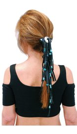 Jamin Leather Extra Long Turquoise Beaded Black Leather Hair Tube #AHW6543FBT