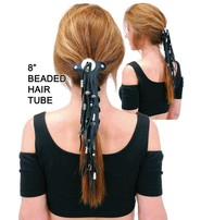Jamin Leather Long Silver Beaded Leather Hair Tube #AHW654FBS