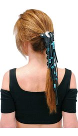 Jamin Leather Long Turquoise Beaded Hair Tube #AHW654FBT
