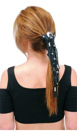 Jamin Leather Short Silver Beaded Hair Tube #AHW65FBS