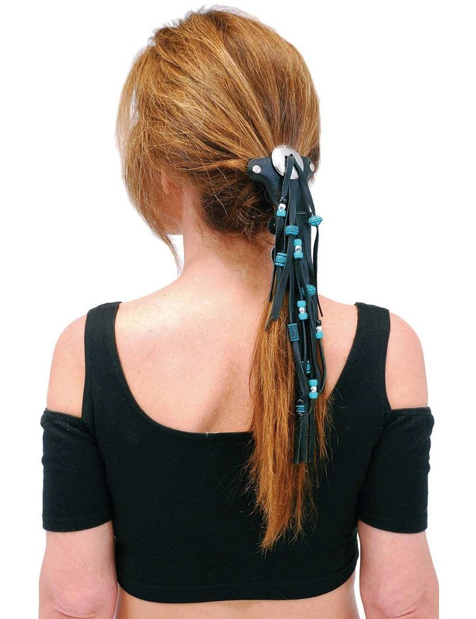 Jamin Leather Short Turquoise Beaded Hair Tube #AHW65FBT