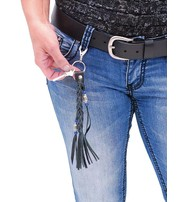 Jamin Leather Black Leather Braid & Bead Key Chain #AKC9038K