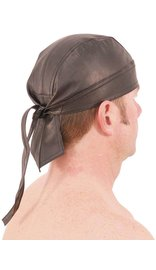 Black Leather Bandana Skullcap #BAND1