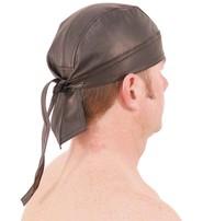 Black Leather Bandana Skullcap #BAND1