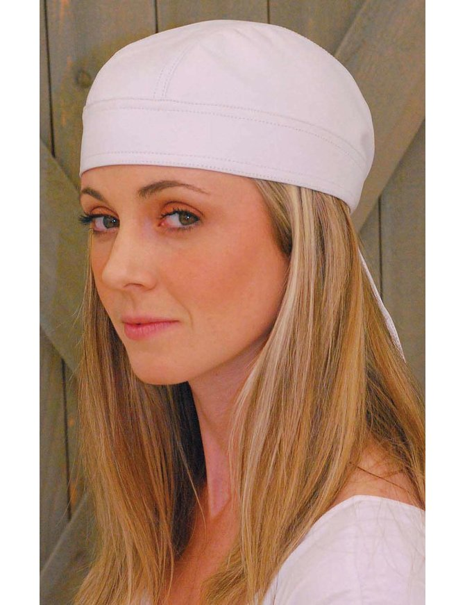 Jamin Leather White Leather Skull Cap #BAND4W